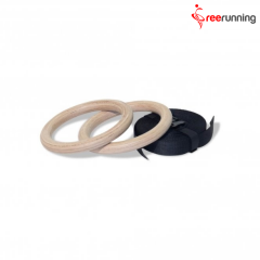 Fitness Training Wooden Gymnastic Rings With Big Buckle